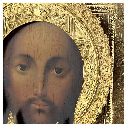 Ícone russo antigo Acheiropoieta Santa Face de Jesus 1872 com riza 84 zolot 32x28x2 cm 3