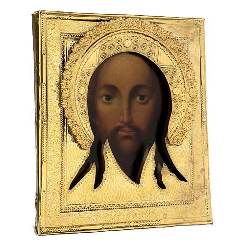 Ícone russo antigo Acheiropoieta Santa Face de Jesus 1872 com riza 84 zolot 32x28x2 cm 5