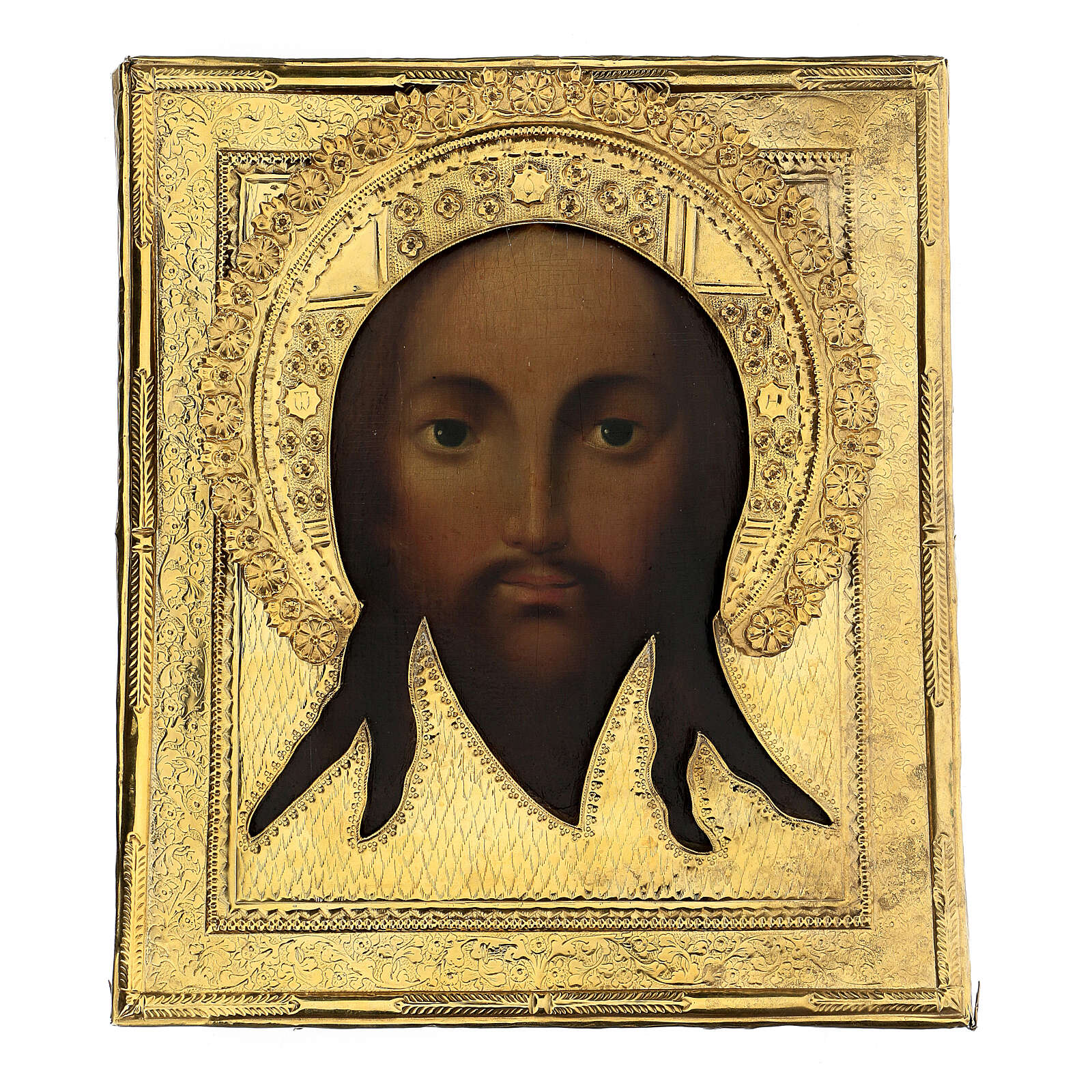 Antique Russian icon Acheiropoieta Holy Face 1872 with riza 84 zolot 32x28 cm 4