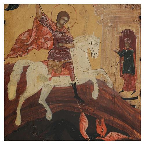 Icona antica russa San Giorgio e il drago XIX secolo 42x34 cm 2
