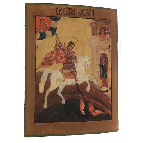 Icona antica russa San Giorgio e il drago XIX secolo 42x34 cm 3