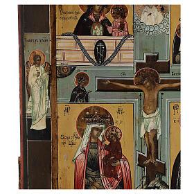 Icona antica russa Quadripartita con Crocifissione XIX secolo 35x32 cm s9
