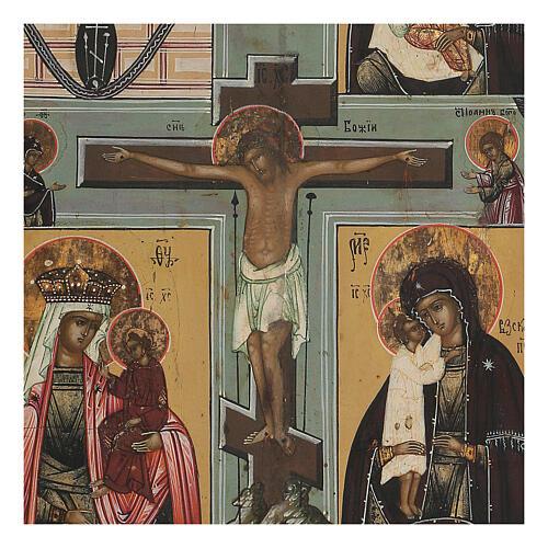 Icona antica russa Quadripartita con Crocifissione XIX secolo 35x32 cm 2