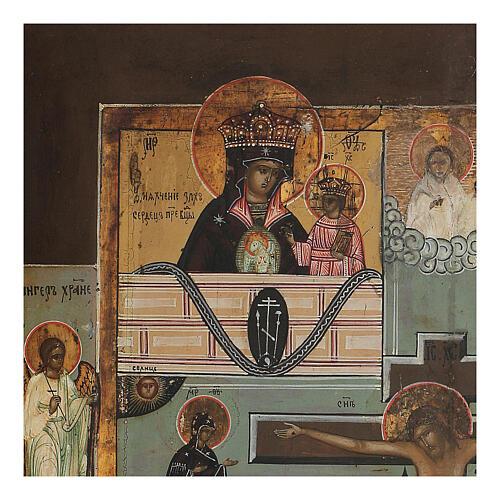 Icona antica russa Quadripartita con Crocifissione XIX secolo 35x32 cm 3