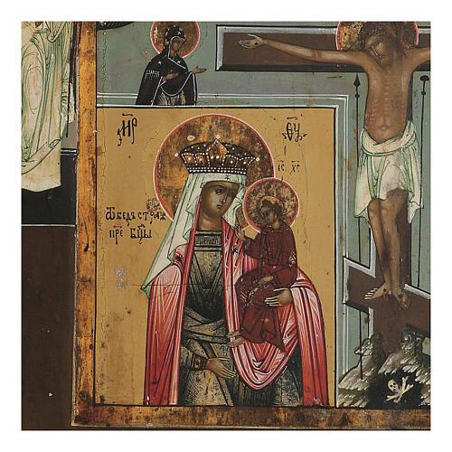 Icona antica russa Quadripartita con Crocifissione XIX secolo 35x32 cm 5