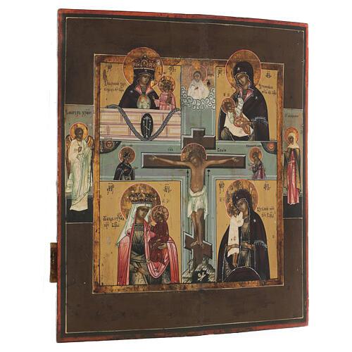 Icona antica russa Quadripartita con Crocifissione XIX secolo 35x32 cm 7