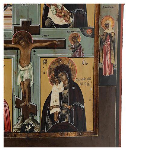 Icona antica russa Quadripartita con Crocifissione XIX secolo 35x32 cm 10