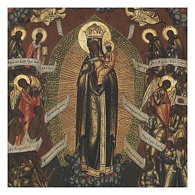 Icône russe ancienne Mère de Dieu Joie de tous les affligés XIX siècle 32x26 cm s2