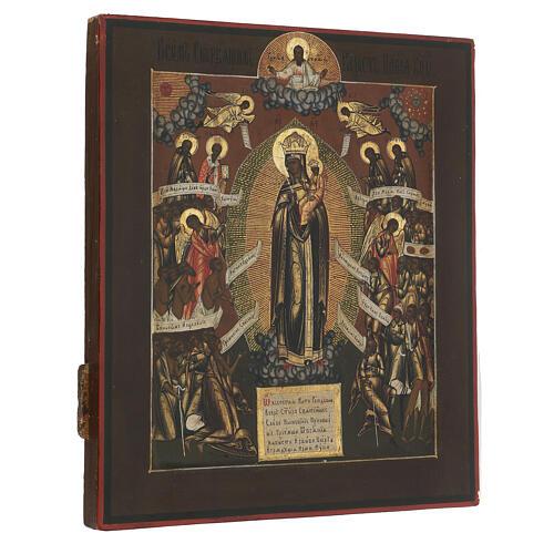 Ícone russo antigo Mãe de Deus Alegria de Todos os Aflitos XIX século 31,3x26,7x3 cm 6