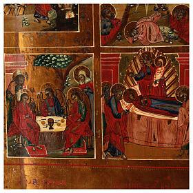 Icône russe ancienne 12 Fêtes et Résurrection milieu XIX siècle 52x45 cm s8