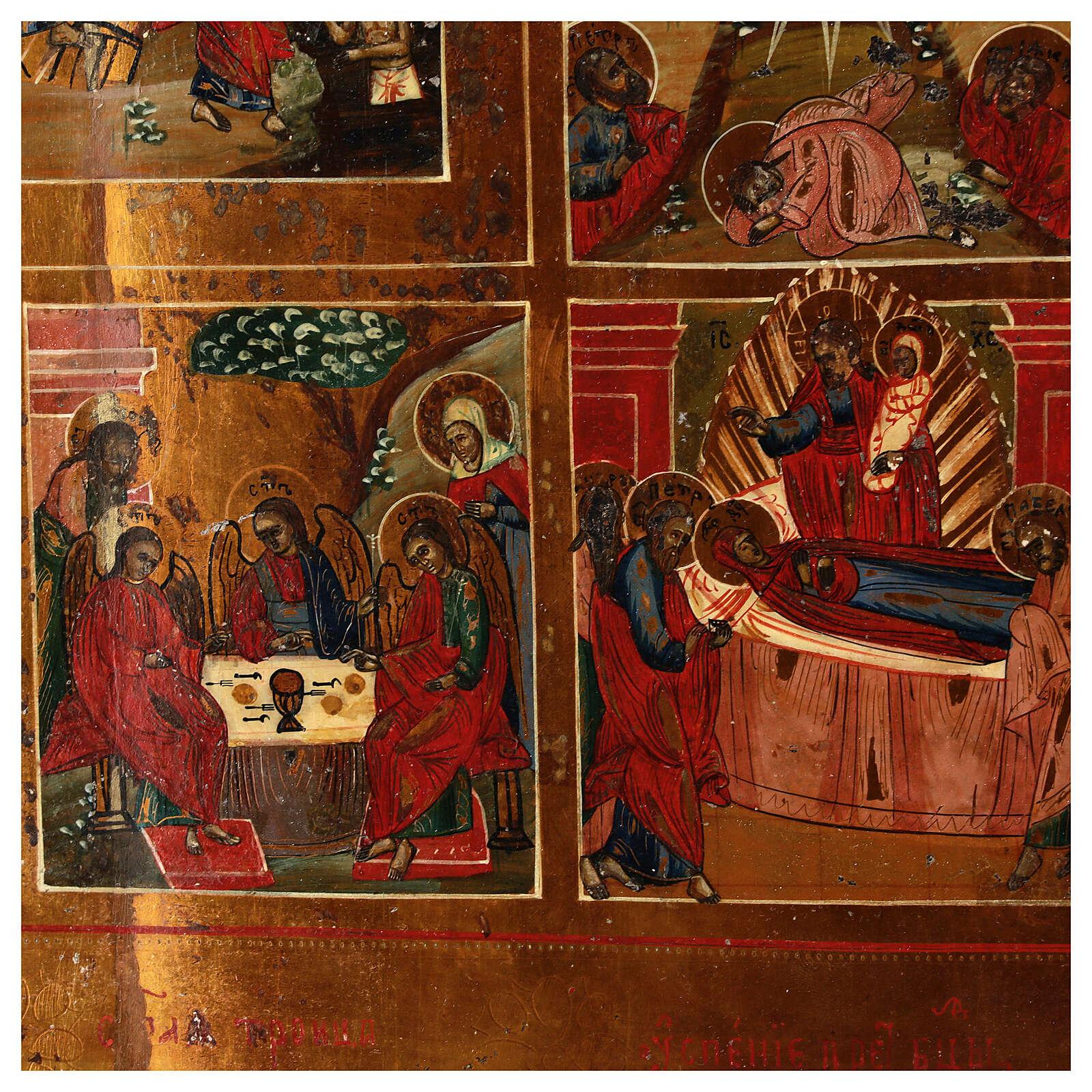 Icona Russa Antica 12 Feste e Resurrezione metà XIX sec 52x45 cm 4