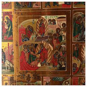 Icona Russa Antica 12 Feste e Resurrezione metà XIX sec 52x45 cm s2