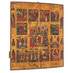 Icona Russa Antica 12 Feste e Resurrezione metà XIX sec 52x45 cm s3