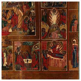 Icona Russa Antica 12 Feste e Resurrezione metà XIX sec 52x45 cm s6