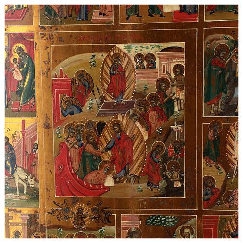 Icona Russa Antica 12 Feste e Resurrezione metà XIX sec 52x45 cm 2