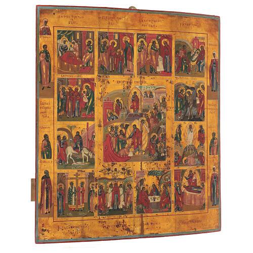 Icona Russa Antica 12 Feste e Resurrezione metà XIX sec 52x45 cm 3
