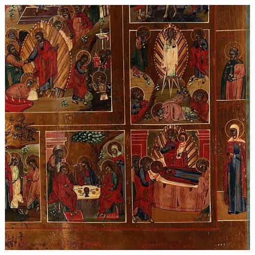 Icona Russa Antica 12 Feste e Resurrezione metà XIX sec 52x45 cm 6