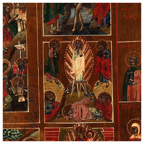 Icona Russa Antica 12 Feste e Resurrezione metà XIX sec 52x45 cm 7