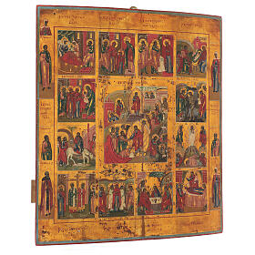 Great Feast and Resurrection icon, Russian antique middle XIX century 52x45 cm s3