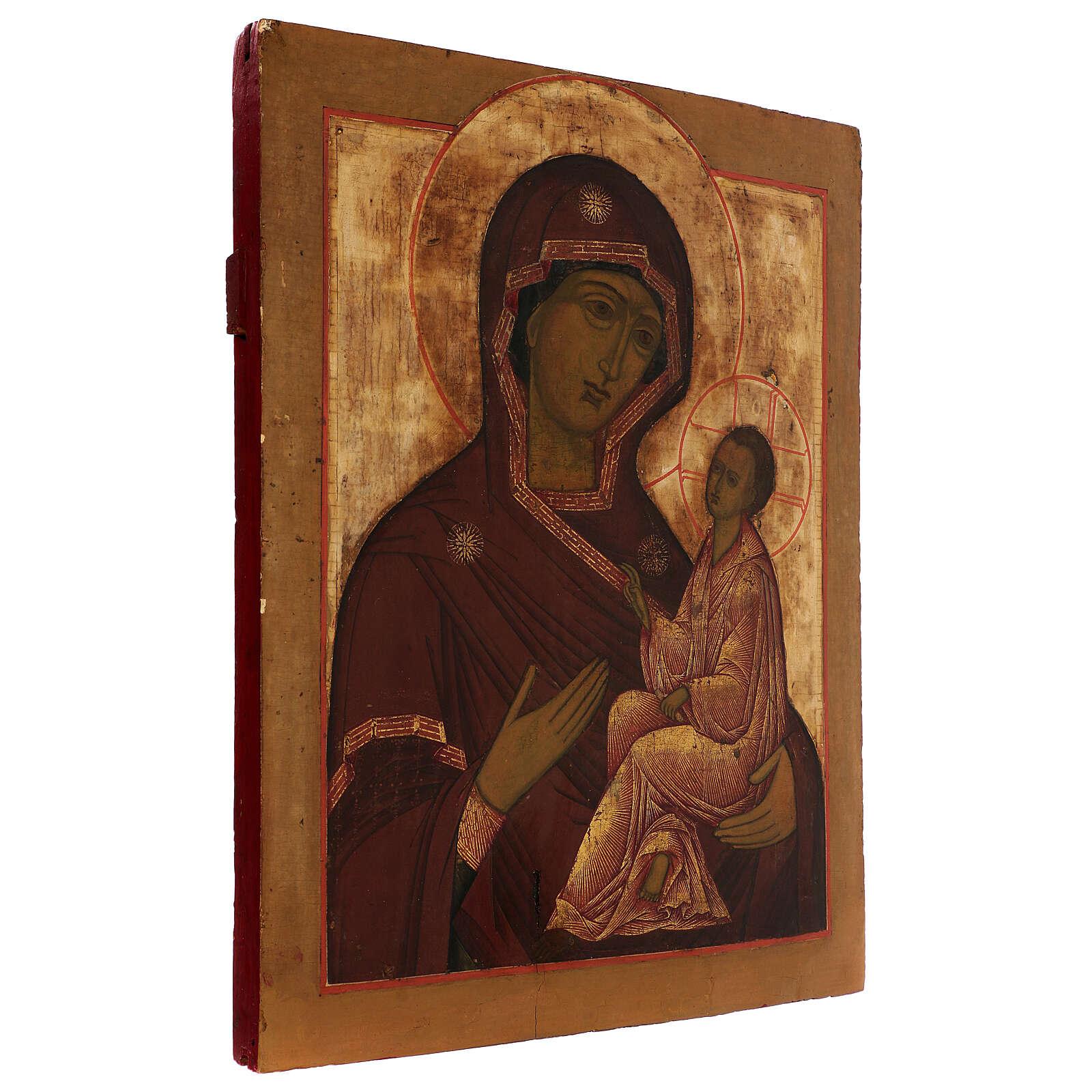 Icona antica russa Madonna di Tichvin XVIII-XIX secolo 46x38 cm 4