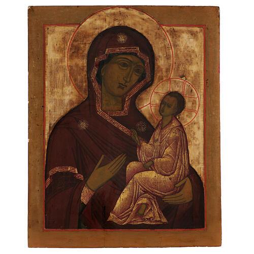Icona antica russa Madonna di Tichvin XVIII-XIX secolo 46x38 cm 1