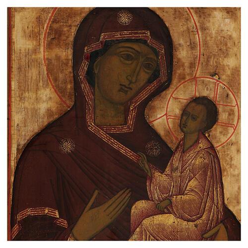 Icona antica russa Madonna di Tichvin XVIII-XIX secolo 46x38 cm 2