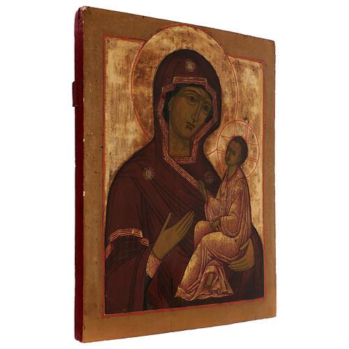 Icona antica russa Madonna di Tichvin XVIII-XIX secolo 46x38 cm 3