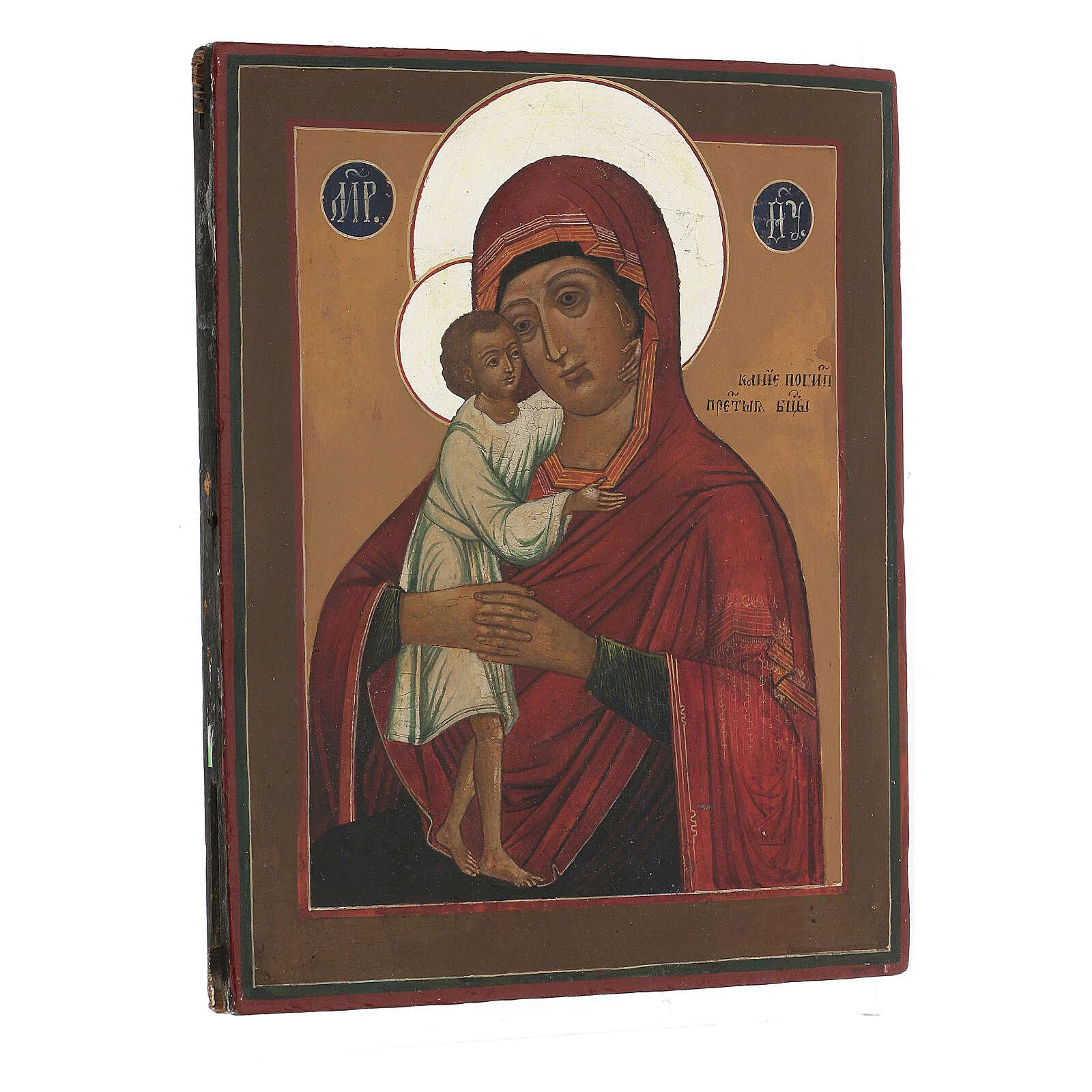 Icona antica russa Colei che ricerca i perduti XIX secolo 30x24 cm 4