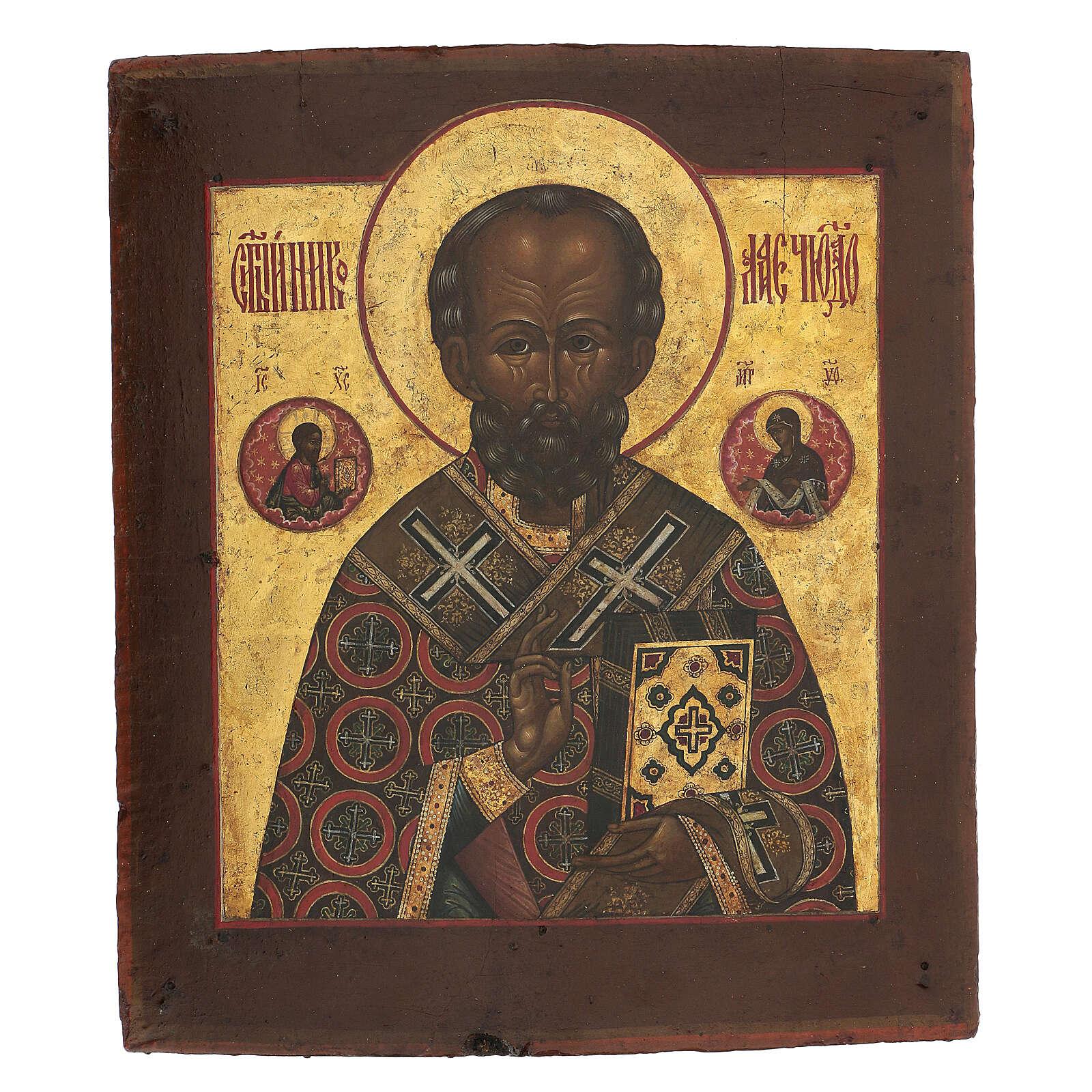 Icona antica russa San Nicola di Myra con fondo oro XIX secolo 35x30 cm 4