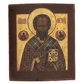 Icona antica russa San Nicola di Myra con fondo oro XIX secolo 35x30 cm s1
