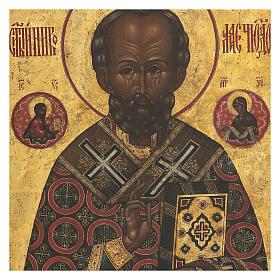 Icona antica russa San Nicola di Myra con fondo oro XIX secolo 35x30 cm s2