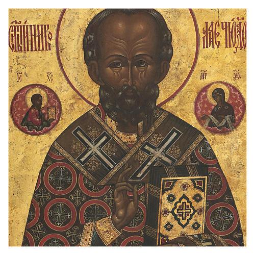 Icona antica russa San Nicola di Myra con fondo oro XIX secolo 35x30 cm 2
