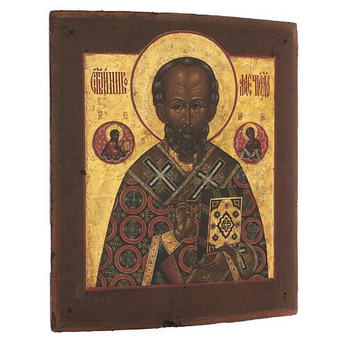 Icona antica russa San Nicola di Myra con fondo oro XIX secolo 35x30 cm 3