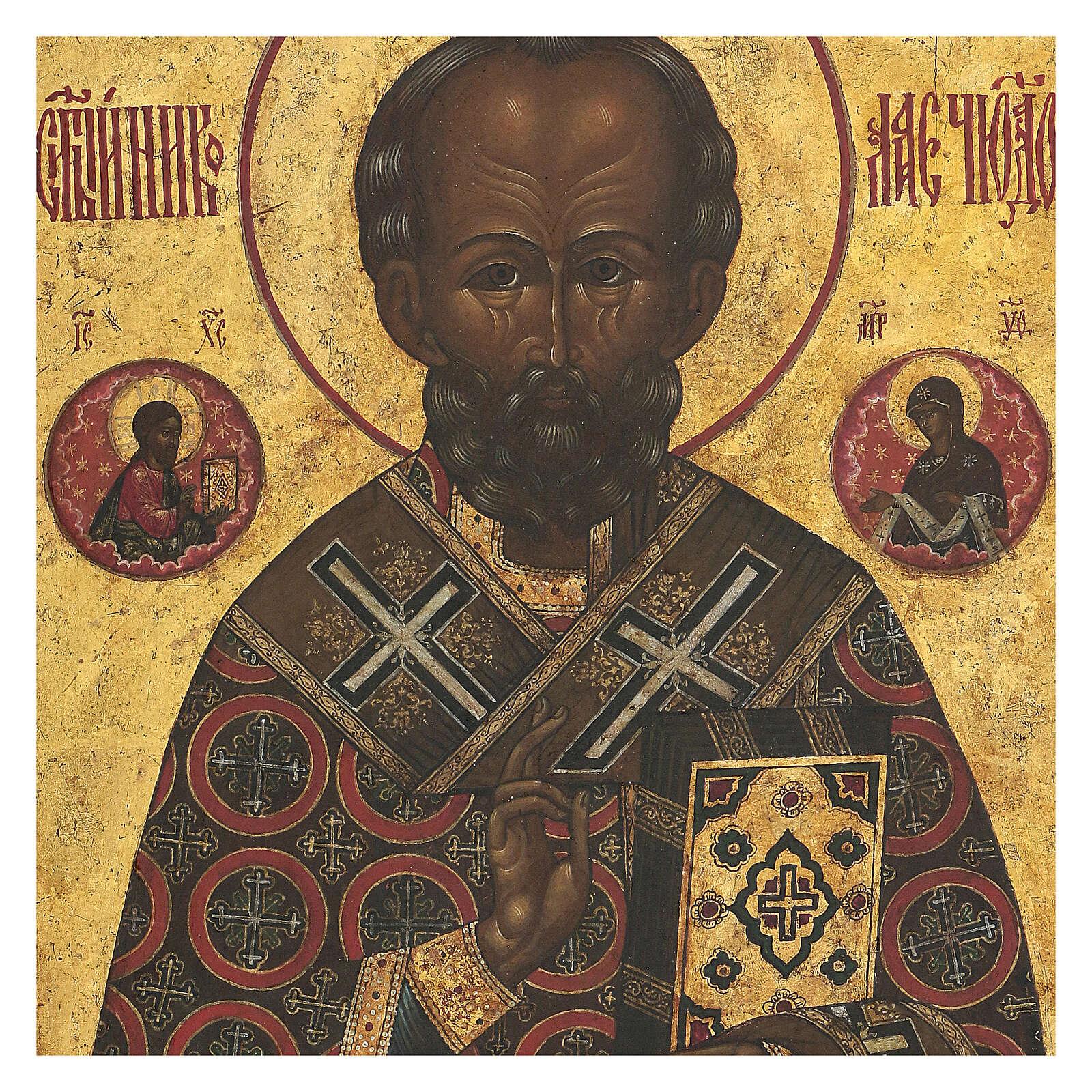 Antique Russian icon St Nicholas of Myra with gold background, XIX century 35x30 cm 4