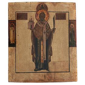 Icône ancienne Saint Nicolas de Mozhaïsk XVIII siècle détrempe fond or 45x38 cm s1