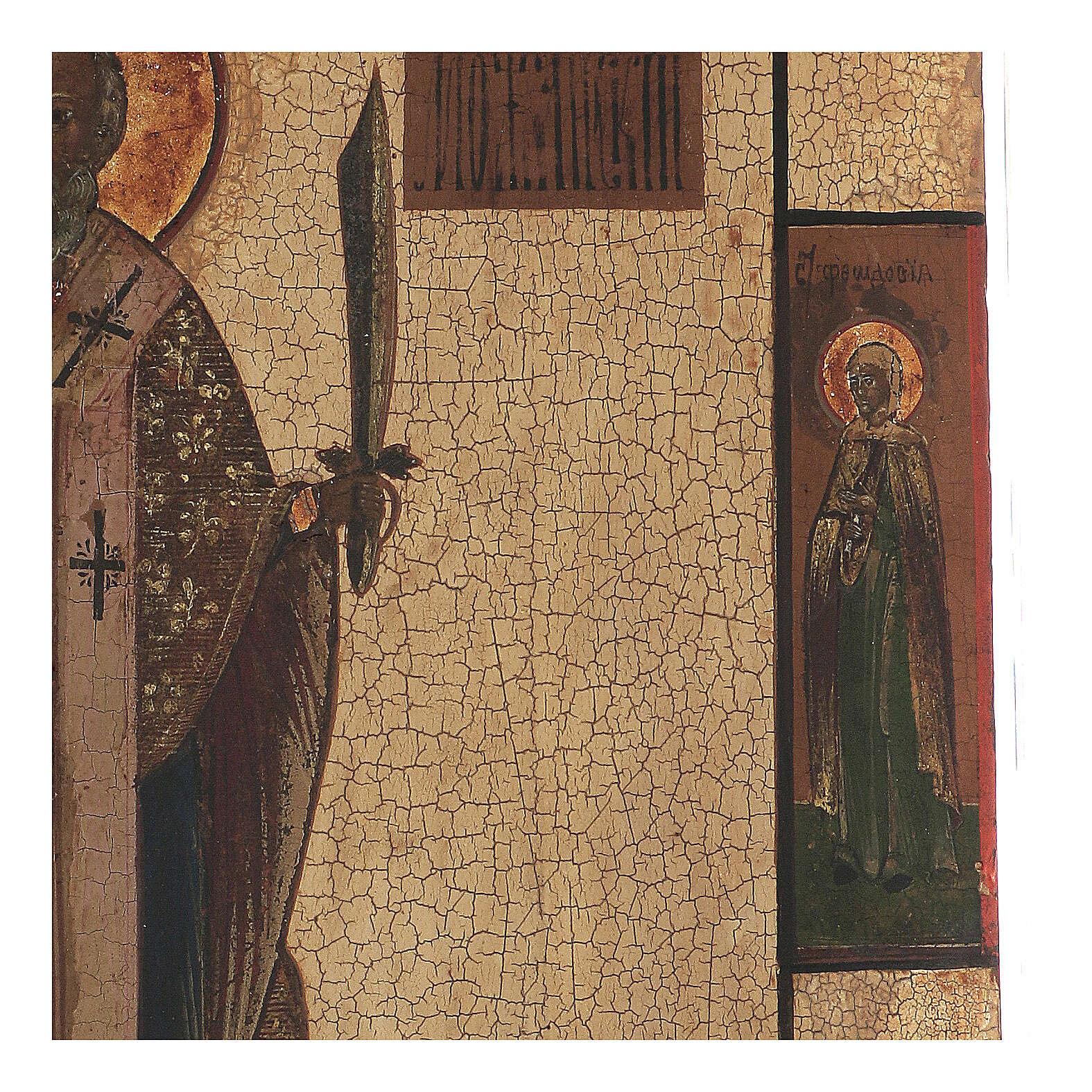 Icona antica San Nicola Mozhaysk XVIII secolo tempera fondo oro 45x38 cm 4