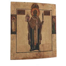 Icona antica San Nicola Mozhaysk XVIII secolo tempera fondo oro 45x38 cm s4