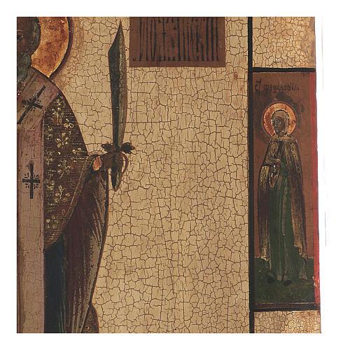 Icona antica San Nicola Mozhaysk XVIII secolo tempera fondo oro 45x38 cm 3