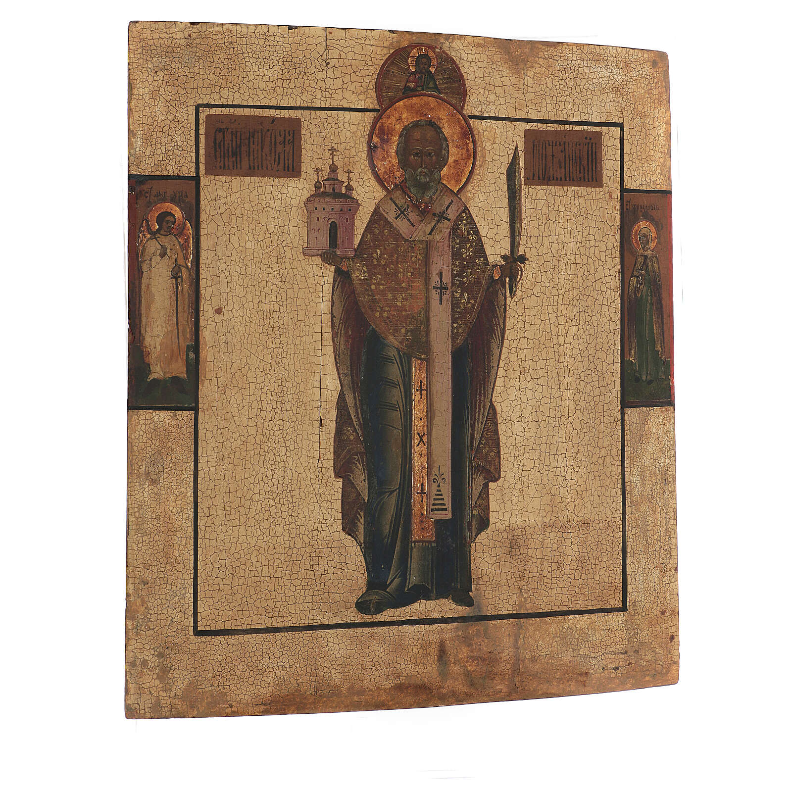 Antique icon St Nicholas Mozhaysk, XVIII century in tempera gold background 45x38 cm 4