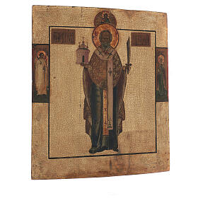 Antique icon St Nicholas Mozhaysk, XVIII century in tempera gold background 45x38 cm s4
