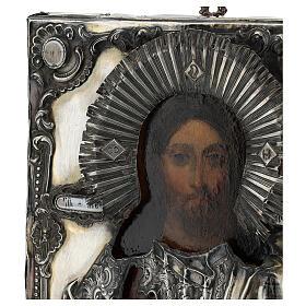 Icona antica russa con riza Cristo Pantokrator Cosmocrator (1860) 28x22 cm s5