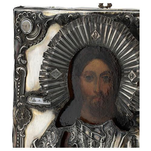 Icona antica russa con riza Cristo Pantokrator Cosmocrator (1860) 28x22 cm 5
