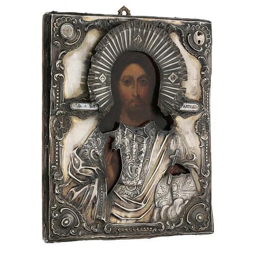 Icona antica russa con riza Cristo Pantokrator Cosmocrator (1860) 28x22 cm 7