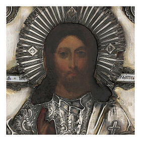 Antique Russian icon with riza Christ Pantocrator Cosmocrator (1860) 28x22 cm s2