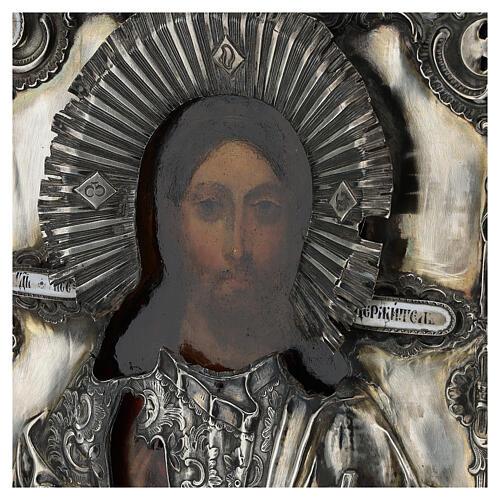 Antique Russian icon with riza Christ Pantocrator Cosmocrator (1860) 28x22 cm 3