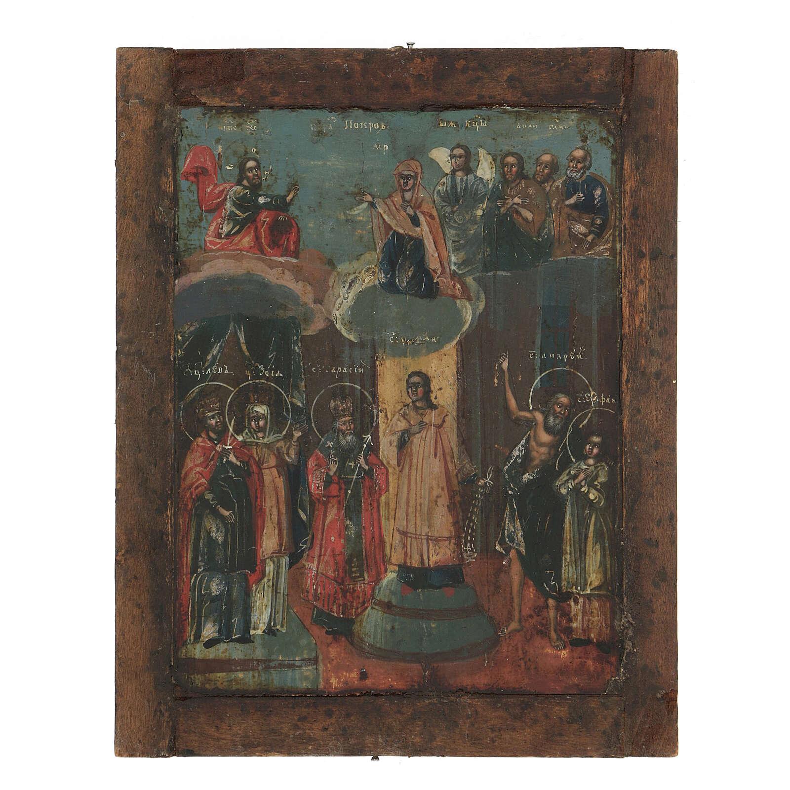 Icona antica russa Riza Pokrov Protezione della Madre di Dio 1870 22x18 cm 4