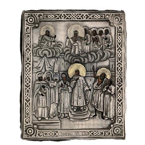 Icona antica russa Riza Pokrov Protezione della Madre di Dio 1870 22x18 cm 1