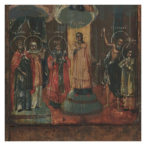 Icona antica russa Riza Pokrov Protezione della Madre di Dio 1870 22x18 cm 5