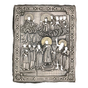 Antique Russian icon Protection of the Mother of God with Riza 1870, 22x18 cm s3