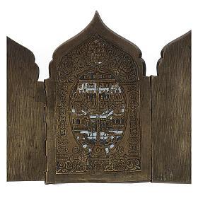 Polyptyque de voyage ancien russe avec émail XIX siècle 40x18 cm s6
